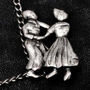Vintage Jewelry - VTG Sterling Chain Lapel Pin Set Dutch Villagers
